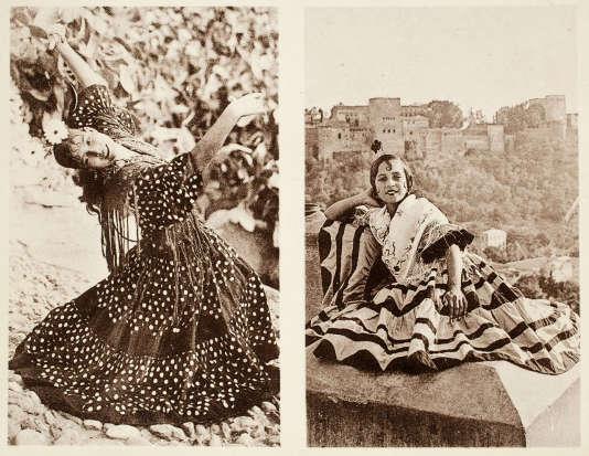 Gitanes du quartier de Sacromonte, Grenade, vers 1920-1930, cartes postales doubles.
