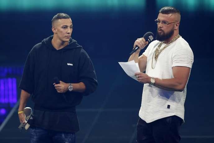 Les rappeurs Kollegah et Farid Bang lors de la remise du prix Echo dans la catégorie «Hip-Hop» à Berlin, le 12 avril 2018.