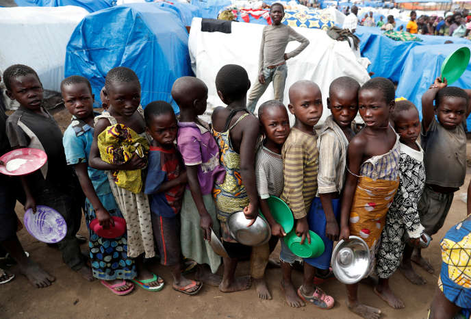 Camp de déplacés à Bunia, dans la province de l'Ituri, dans l'est de la République démocratique du Congo, le 12 avril 2018.