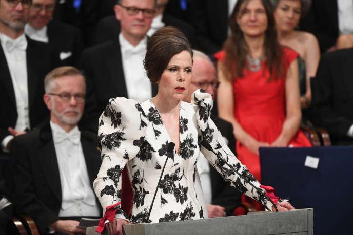 La secrétaire perpétuelle de l'Académie suédoise Sara Danius lors de la cérémonie de remise du prix Nobel de littérature à Stockholm, le 10 décembre 2017.