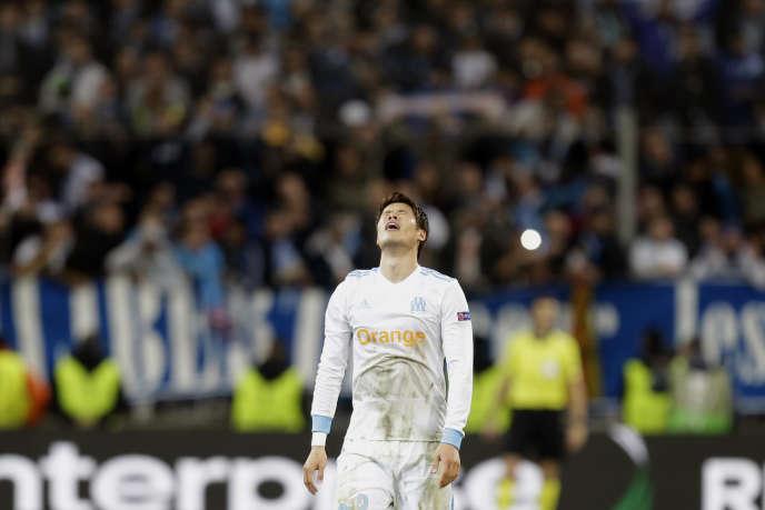 Le défenseur de Marseille Horiki Sakaï à l'occasion de la victoire contre Leipzig, jeudi 12 avril.