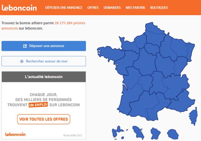 «Leboncoin espère séduire les 32,4% de CSP+ qui se connectent déjà chaque mois sur le site, mais qui ne trouvaient pas beaucoup d'offres d'emploi pour eux» (Illustration: capture d'écran du site).
