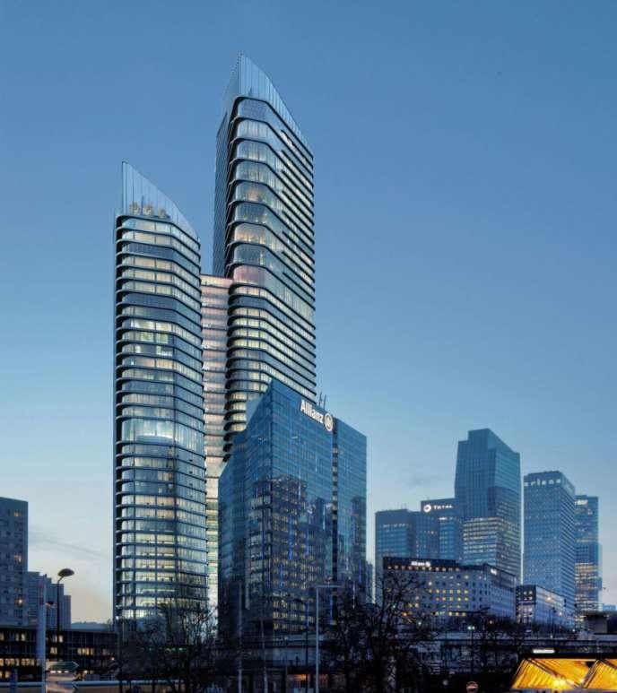 Projet de la future double tour the Link, dans le quartier de La Défense, près de Paris.