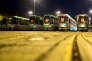 Les trams du transporteur public Üstra restés au dépôt, à l'aube, à Hanovre en Allemagne, lors de la grève nationale d'avertissement à l'appel du syndicat Verdi, le 12 avril.