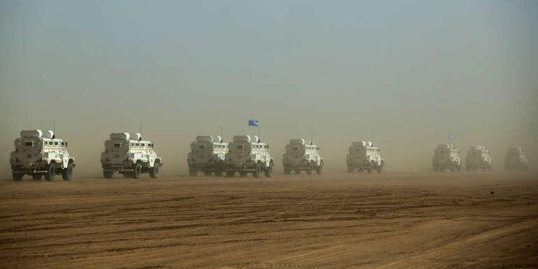 Un convoi de la Minusma, dans la région de Gao, au Mali, en février 2017.