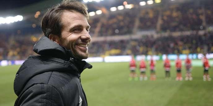 Stéphane Masala, l'entraîneur des Herbiers, après la victoire de son équipe face à Lens, le 27février 2018 à Nantes.