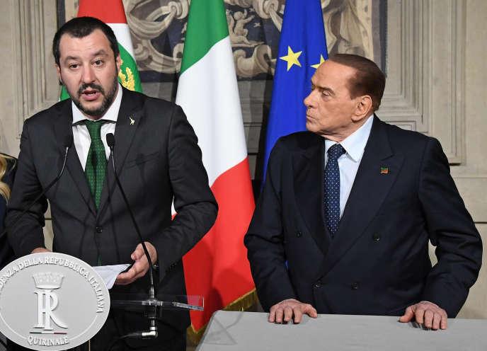 Le chef de la Ligue, Matteo Salvini, et Silvio Berlusconi, en avril.
