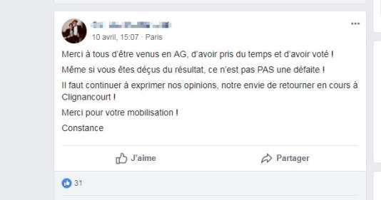 Message posté sur le groupe Facebook #JeVeuxEtudier