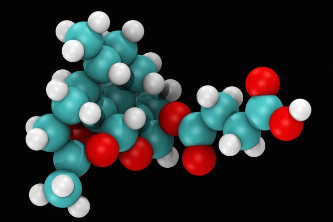 Modèle moléculaire de l'artesunate, traitement utilisé contre le paludisme.