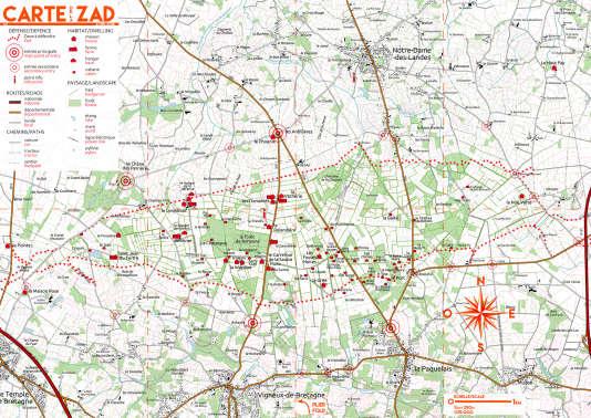 La carte de la ZAD de Notre-Dame-des-Landes, avec les principales installations.