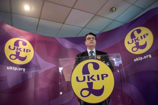 Gerard Batten au siège du parti europhobe UKIP, le 13 février 2017.