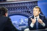 Emmanuel Macron, président de la république, est interviewé par Edwy Plenel et Jean-Jacques Bourdin sur BFM, dimanche 15 avril 2018.