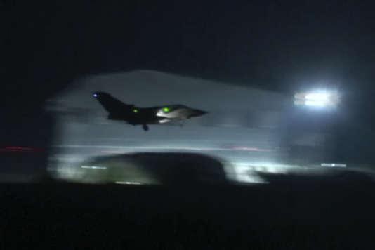 Un avion de la Royal Air Force britannique, lors des frappes le 14 avril.