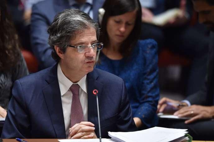 L'ambassadeur de France aux Nations unies, François Delattre, lors d'une séance du Conseil de sécurité, à New York, le 14 avril.