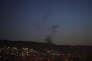 La fumée issue des frappes occidentales sur Damas, le 14 avril.