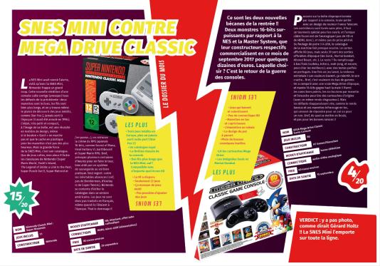 Comparatif entre Super Nintendo Mini et Mega Drive Classic Game Console dans«Consoles Pix» en 2017.