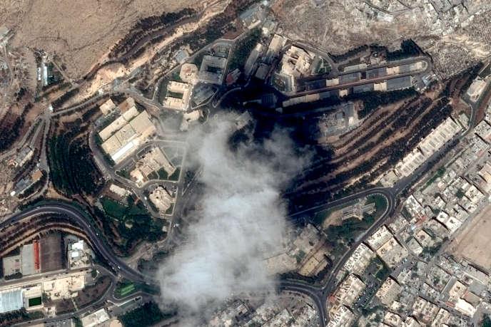 Image satellite du Centre d'études et de recherches scientifiques (SSRC), prise avant les bombardements, au nord de Damas, le 11 avril.