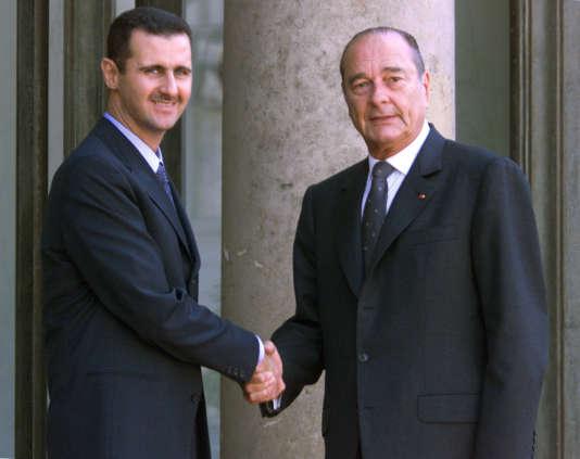 Bachar Al-Assad reçu par Jacques Chirac, le 25 juin 2001 à l'Elysée.
