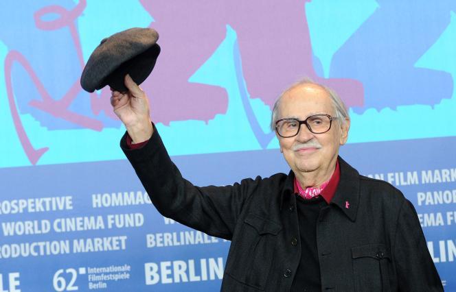 Le réalisateur Vittorio Taviani lors d'une conférence de presse pour son film« César doit mourir» au Festival international du film de Berlin, en février 2012.