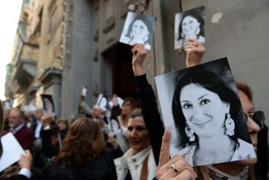 Hommage à la journaliste Daphne Caruana Galizia à l'église Saint-Francis de Malte, le 16 avril.