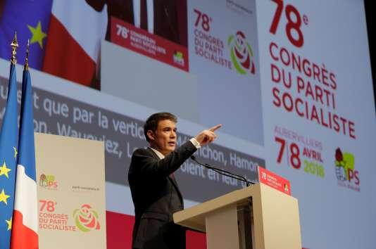 Le nouveau secrétaire général du Parti socialiste, Olivier Faure, au 78e congrès du parti, à Aubervilliers, le 8 avril.
