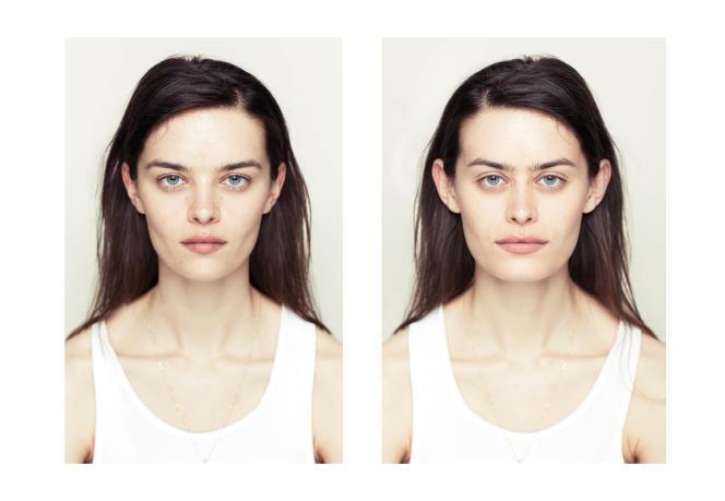 Portraits de la série «Both Sides Of», du photographe Alex John Beck, qui a recréé deux visages symétriques à partir du côté gauche (à g.) ou du côté droit du visage.