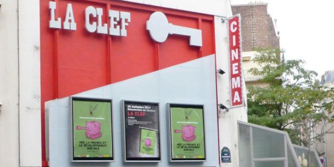 La façade du cinéma d'art et d'essai La Clef, situé au 34, rue Daubenton dans le 5e arrondissementparisien.