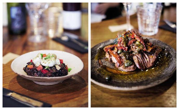 Saint-jacques snackées, curry de riz noir, betterave et fenouil ; poêlée de cœurs de canard à la sauge, câpres et poivrons rôtis.