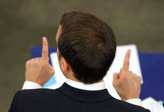 Emmanuel Macron lors d'un discours au Parlement européen, à Strasbourg, le 17 avril.