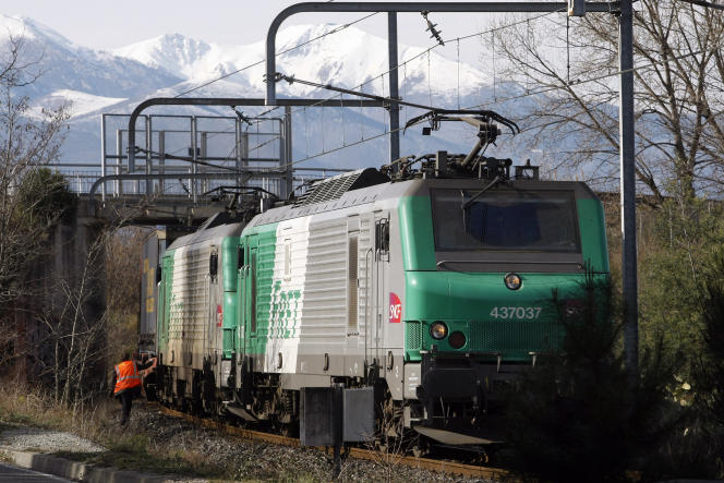 Un convoi de fret ferroviaire, à Boulou (Pyrénées-Orientales), 19 janvier 2012.