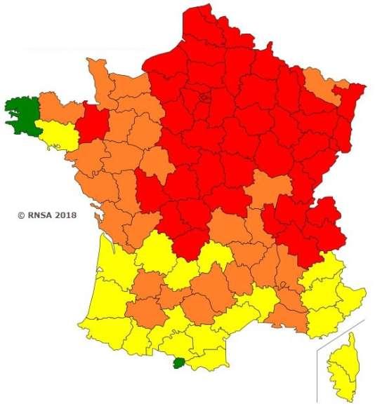 Carte de vigilance des pollens établie par le RNSA, valable jusqu'au 20 avril.