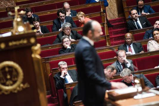 Débat au Parlement sur les frappes occidentales en Syrie, à Paris, le 16 avril.