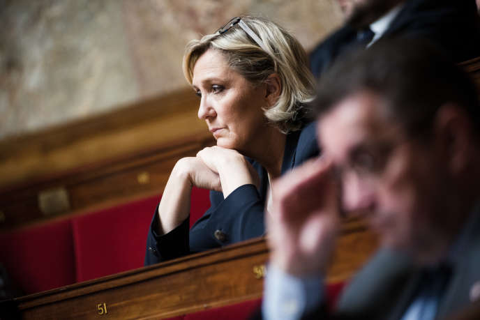 Marine Le Pen lors des débats à l'Assemblée Nationale, à Paris, le 16 avril.