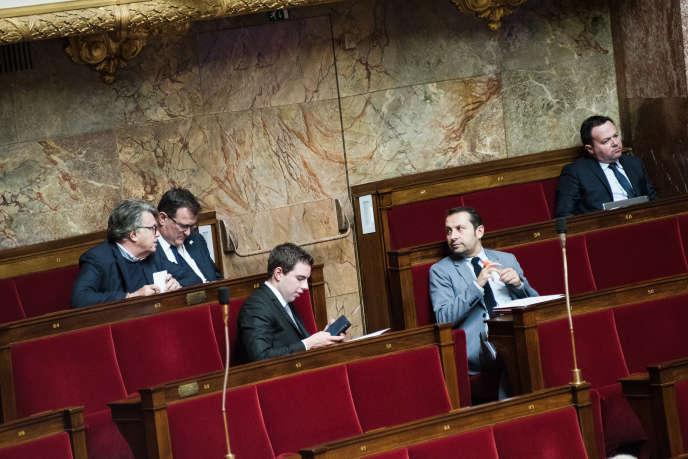 Discussion à l'Assemblée nationale sur le projet de loi pour une immigration maîtrisée et un droit d'asile, à Paris, le 16 avril.