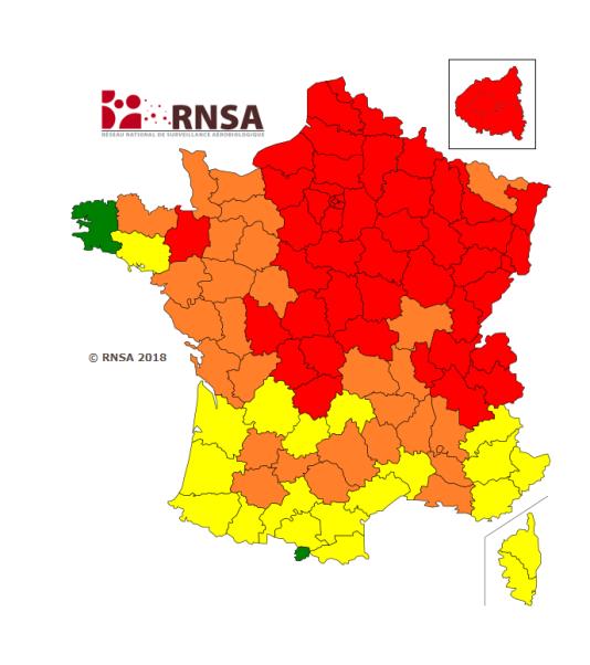 Carte de vigilance publiée par le RNSA mardi 17 avril.