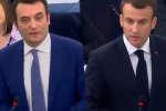 Florian Philippot et Emmanuel Macron, le 17 avril, au Parlement européen.