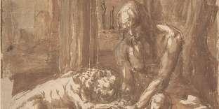 Saint Jérôme guérissant le lion, dessin anonyme, Italie, XVIIe siècle.