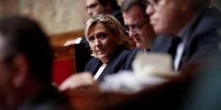 Marine Le Pen, au Parlement, le 16 avril.