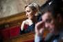 Marine Le Pen lors des débats à l'Assemblée Nationale, à Paris, le 16 avril.
