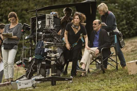 Agnès Jaoui et Jean-Pierre Bacri sur le tournage du film « Place publique», d'Agnès Jaoui.
