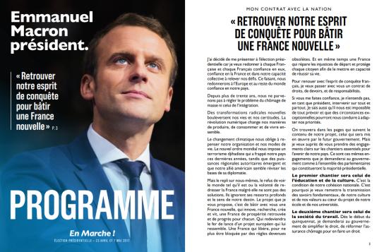 La couverture et la troisième page du programme d'Emmanuel Macron en 2017.
