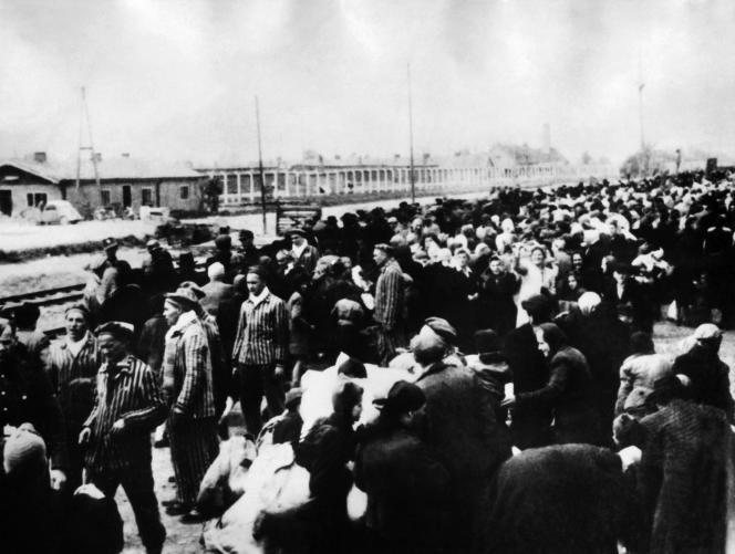 Arrivée de prisonniers sur le site des chambres à gaz, àAuschwitz. Photo non-datée.