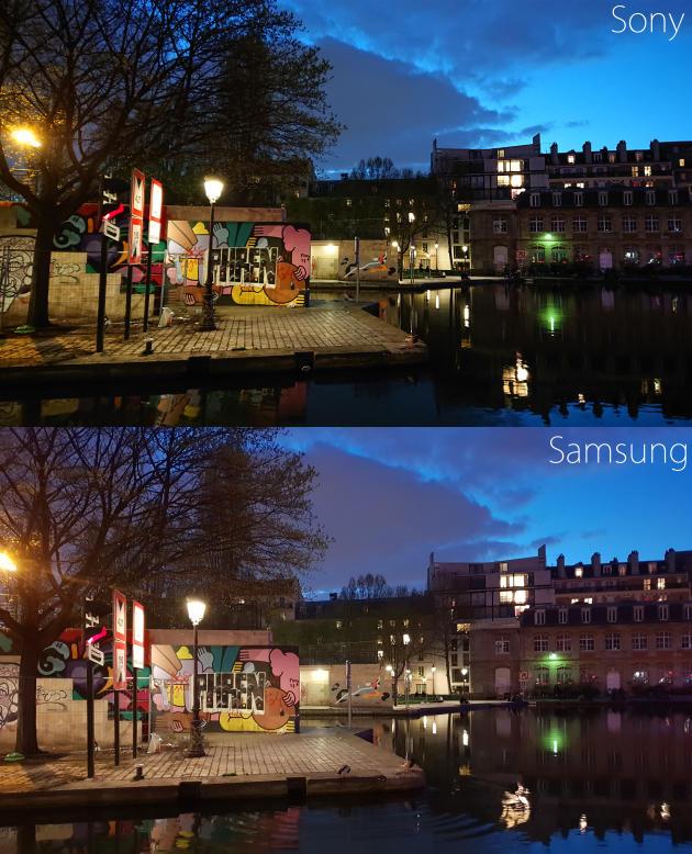 De nuit, les images du Sony sont plus sombres que celles du Samsung.