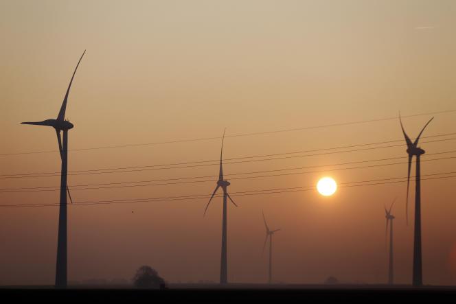 Des éoliennes à Nibas (Somme), le 22 février 2018.