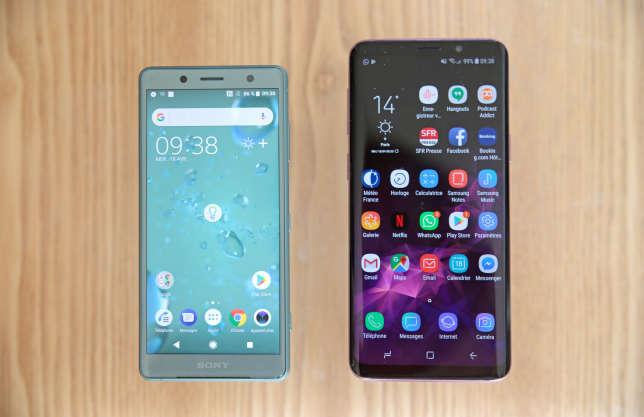 Le Sony XZ2 Compact est nettement plus petit que le Samsung Galaxy S9.