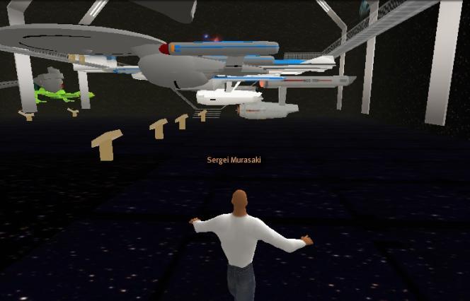 Sergei Murasaki, l'avatar de Chris Marker, autour du vaisseau «Enterprise» de «Star Trek».