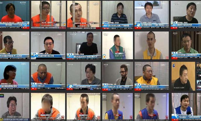 Captures d'écran de confessions sur la télévision publique chinoise, CCTV.