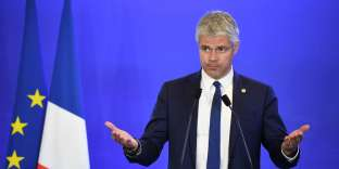 Laurent Wauquiez lors de la convention « Comment réduire l'immigration», au siège du parti Les Républicains, à Paris, le 18 avril.