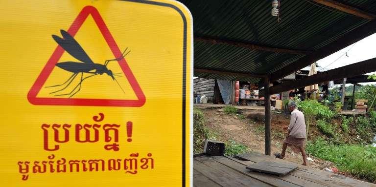 Un panneau de prévention du paludisme au Cambodge, en 2012.