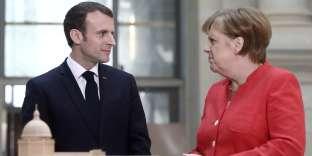 Emmanuel Macron etAngela Merkel au Humboldt Forum, à Berlin, jeudi19avril2018.